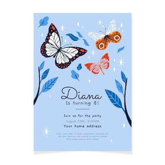 Modèle d'invitation d'anniversaire papillon dessiné à la main
