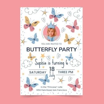Modèle d'invitation d'anniversaire papillon avec photo