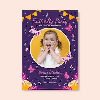 Modèle d'invitation d'anniversaire papillon plat avec photo
