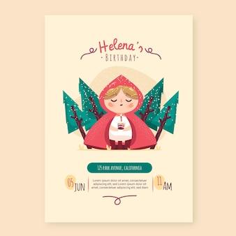 Modèle d'invitation anniversaire petit chaperon rouge dessiné à la main