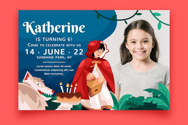 Modèle d'invitation anniversaire petit chaperon rouge