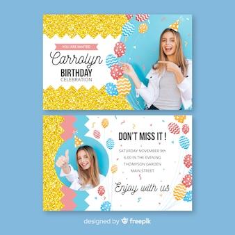 Modèle d'invitation anniversaire avec photo