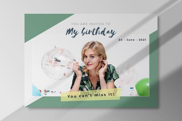 Modèle d'invitation d'anniversaire avec photo