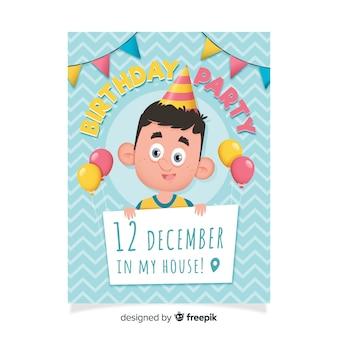 Modèle d'invitation anniversaire plat avec dessin animé