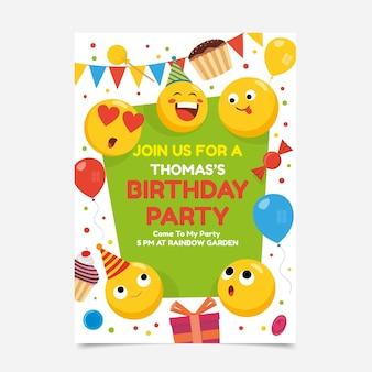 Modèle d'invitation d'anniversaire plat emoji