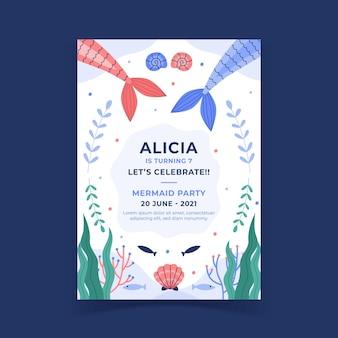 Modèle d'invitation d'anniversaire plat sirène