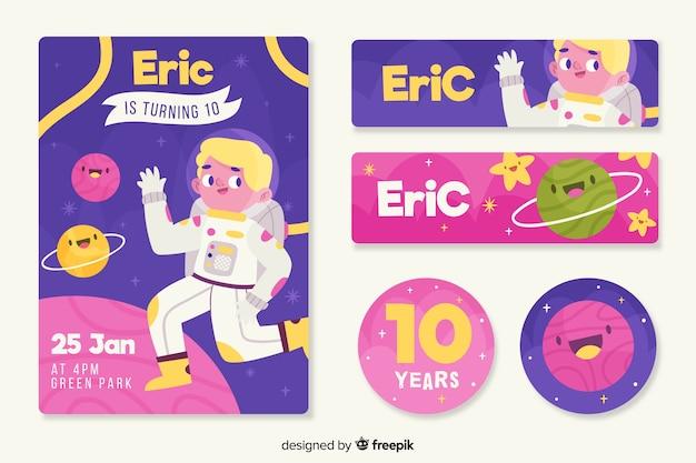 Modèle d'invitation anniversaire pour enfants colorés
