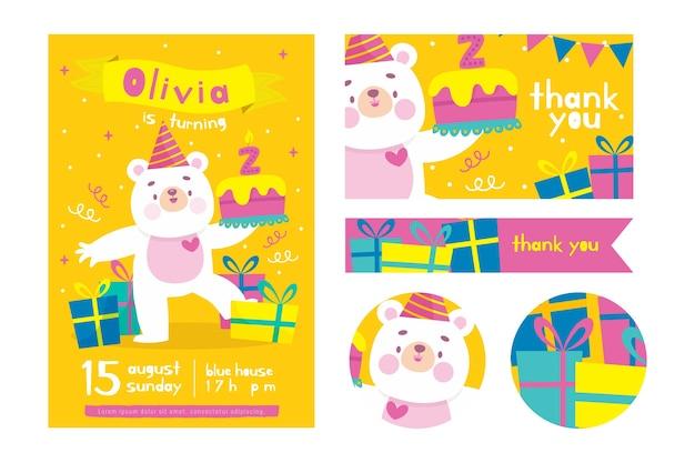 Modèle d'invitation d'anniversaire pour enfants colorés