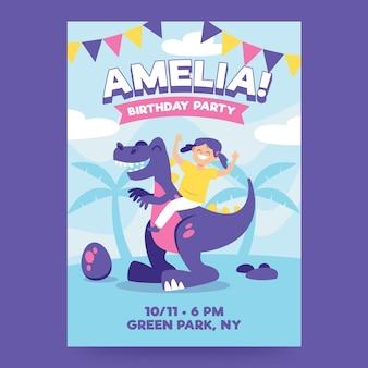 Modèle d'invitation d'anniversaire pour enfants avec dinosaure