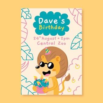 Modèle d'invitation d'anniversaire pour enfants avec lion