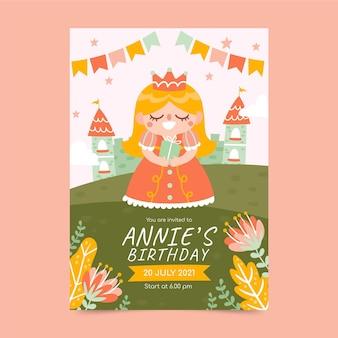 Modèle d'invitation d'anniversaire princesse dessiné à la main