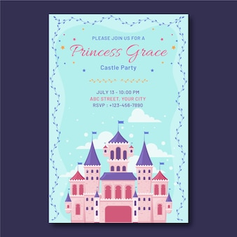 Modèle d'invitation d'anniversaire princesse plate avec château