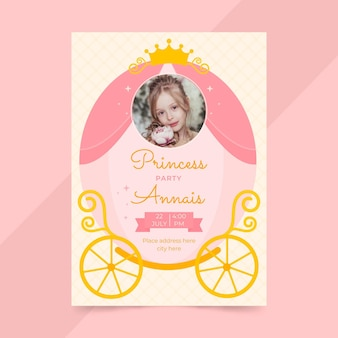 Modèle d'invitation d'anniversaire princesse plate avec photo