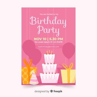 Modèle d'invitation anniversaire rose dessiné à la main