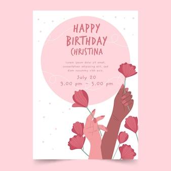 Modèle d'invitation d'anniversaire avec des roses dessinées