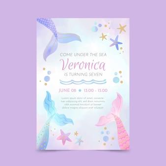 Modèle d'invitation d'anniversaire de sirène aquarelle peinte à la main