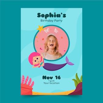 Modèle d'invitation d'anniversaire sirène dessiné à la main avec photo
