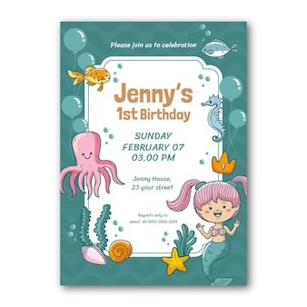 Modèle d'invitation d'anniversaire sirène dessiné à la main
