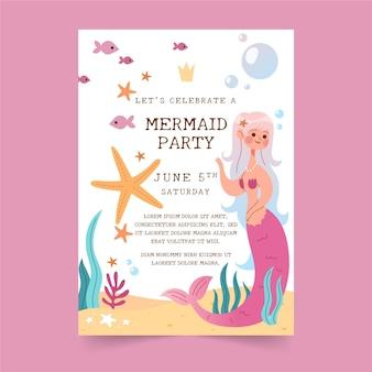 Modèle d'invitation d'anniversaire de sirène plat bio