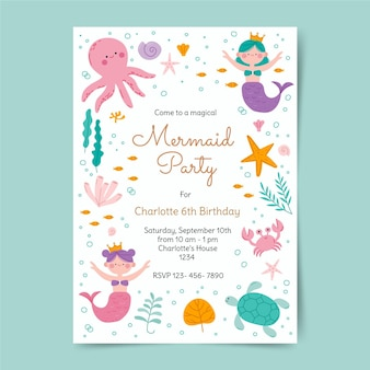 Modèle d'invitation d'anniversaire de sirène
