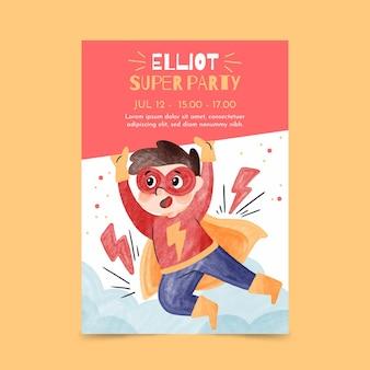 Modèle d'invitation d'anniversaire de super-héros aquarelle peint à la main