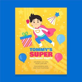 Modèle d'invitation d'anniversaire de super-héros de dessin animé