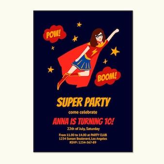 Modèle d'invitation d'anniversaire de super-héros dessiné à la main