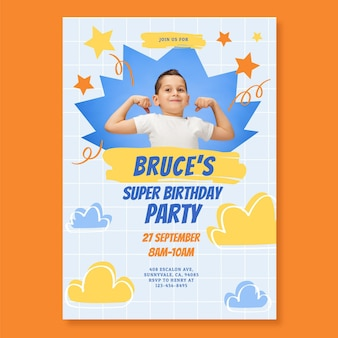 Modèle d'invitation d'anniversaire de super-héros plat avec photo