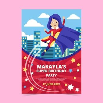 Modèle d'invitation d'anniversaire de super-héros plat