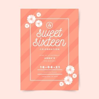 Modèle d'invitation d'anniversaire sweet sixteen