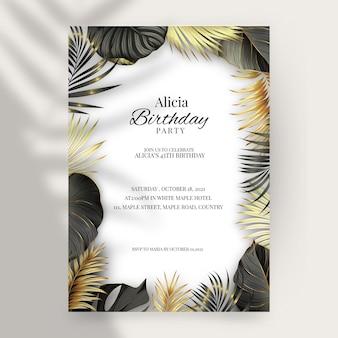 Modèle d'invitation d'anniversaire vertical de luxe doré réaliste