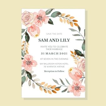 Modèle d'invitation aquarelle florale classique pastel vintage