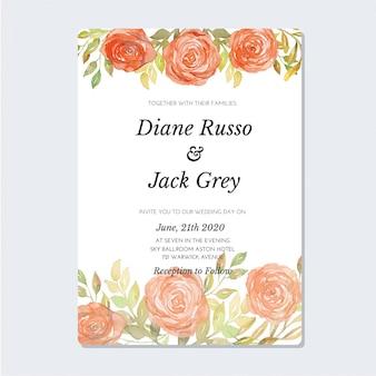 Modèle d'invitation aquarelle vintage rose corail