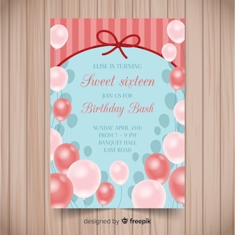 Modèle d'invitation de ballon réaliste de seize anniversaire