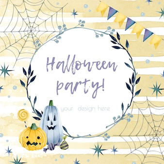 Modèle d'invitation de cadre aquarelle fête d'halloween