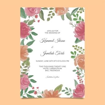 Modèle d'invitation avec cadre de fleur aquarelle