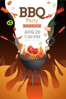Modèle d'invitation, de carte ou d'affiche de soirée barbecue avec grill