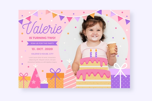 Modele D Invitation De Carte D Anniversaire Pour Enfants Vecteur Gratuite