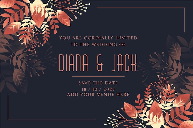 Modèle d'invitation de carte de mariage dans le style de feuilles