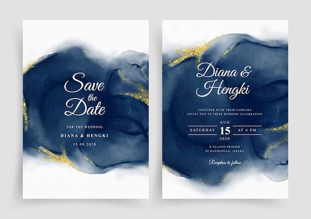 Modèle d'invitation de carte de mariage élégant avec aquarelle peinte à la main