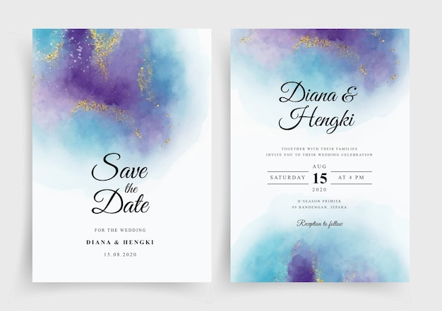Modèle d'invitation de carte de mariage élégant avec fond aquarelle splash