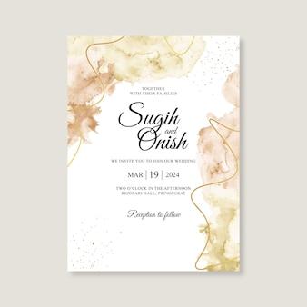 Modèle d'invitation de carte de mariage minimaliste avec aquarelle splash