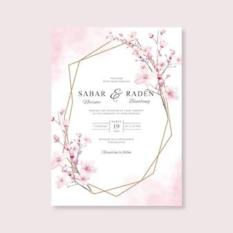 Modèle d'invitation de carte de mariage avec or géométrique et aquarelle florale