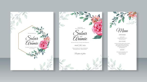 Modèle d'invitation de carte de mariage avec peinture aquarelle rose rouge