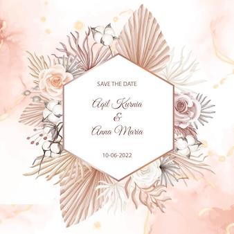 Modèle d'invitation de carte de mariage de style bohème rose moderne