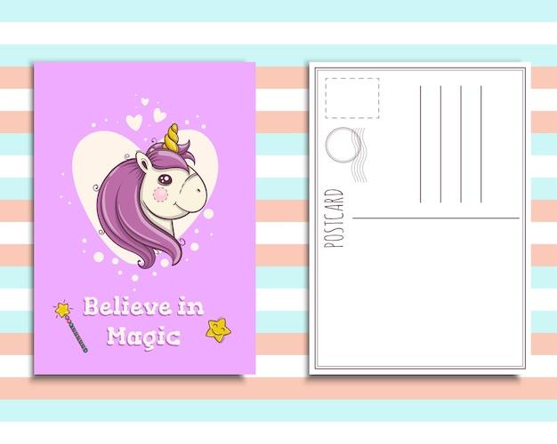 Modèle d'invitation de carte postale avec un joli portrait de licorne, croyez en la magie