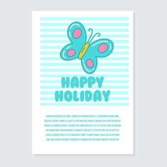 Modèle d'invitation et de carte de voeux mignonne avec l'écriture de vacances heureux lumineux