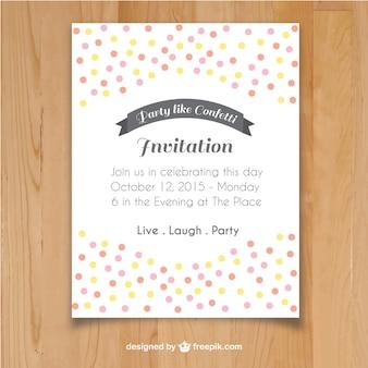 Modèle d'invitation avec des confettis