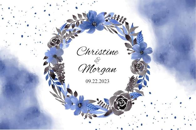 Modèle d'invitation avec couronne de fleurs aquarelle bleu noir