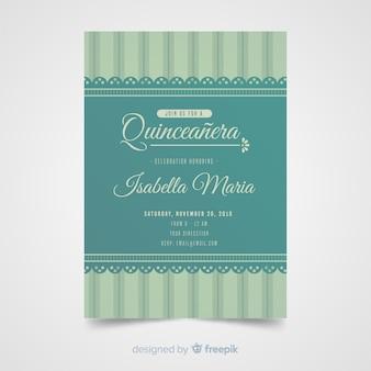 Modèle d'invitation de dentelle quinceanera